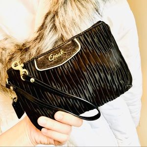 COACH⚡️Authentic Satin Ruched Wristlet/Clutch